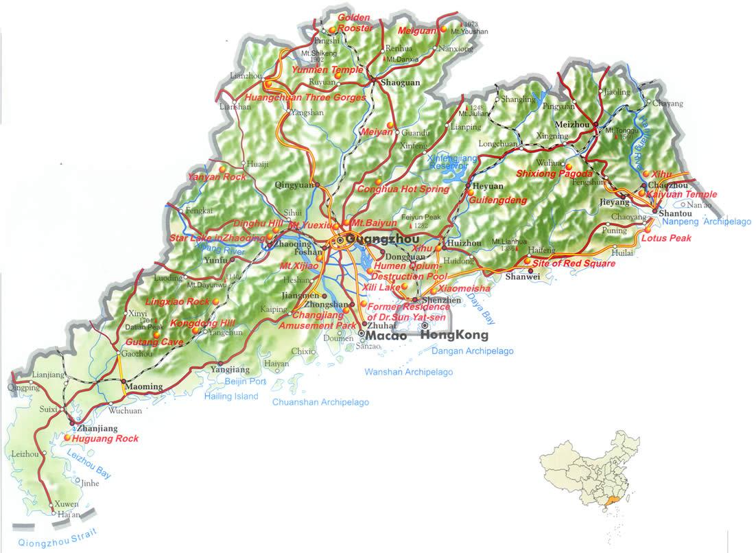 中国地图全图各省 广东地图