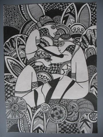 树林黑白装饰画