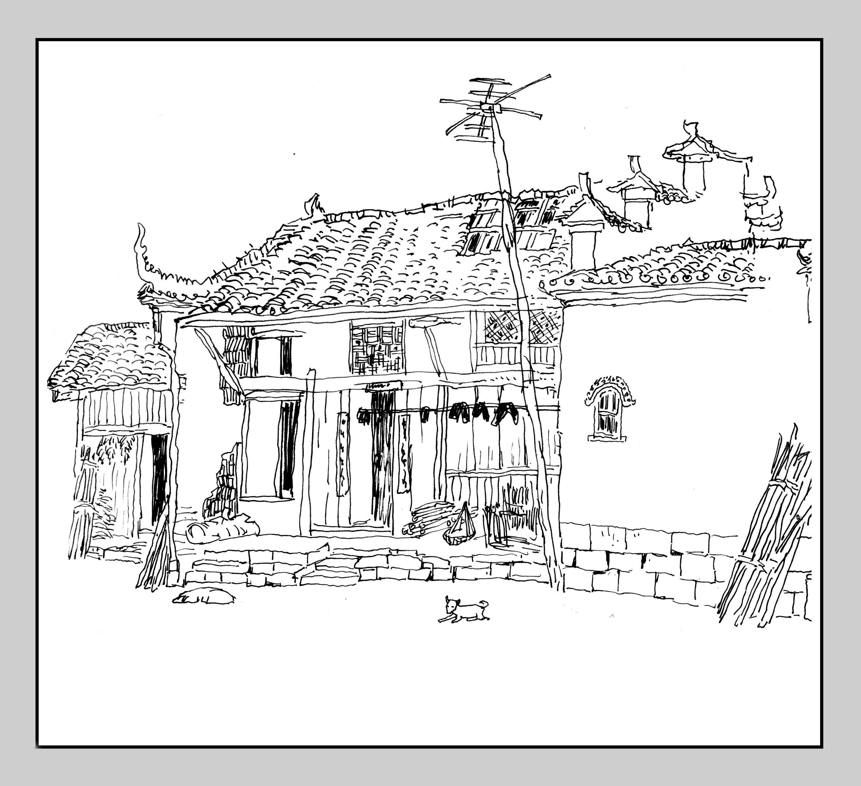 大圩古镇手绘