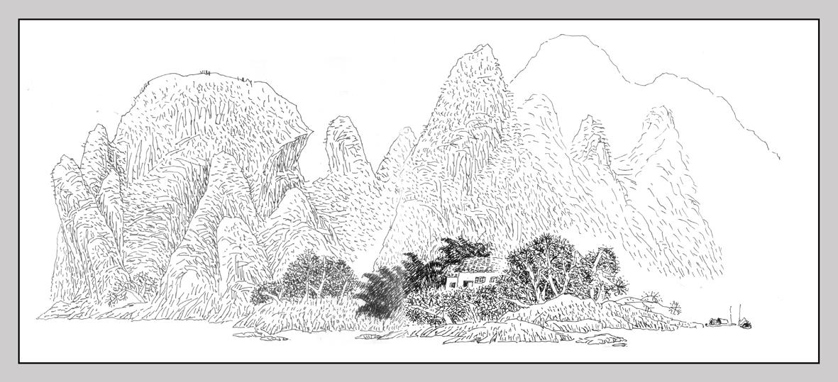 桂林古迹手绘线稿